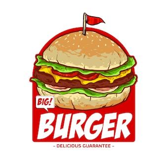 Hamburguesa con bandera para logo de restaurante de comida chatarra