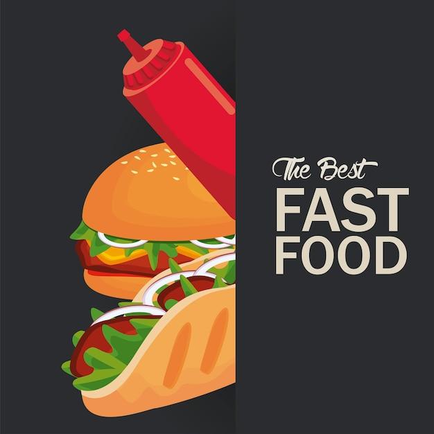 Hamburguesa y burrito con salsa de tomate deliciosa comida rápida icono ilustración