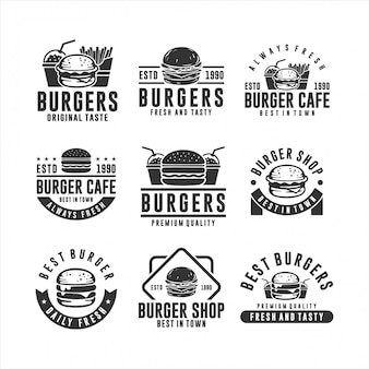 Hamburguesa colección logotipos frescos y sabrosos
