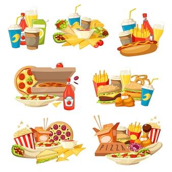 Hamburguesa de comida rápida, pizza y hot dog con bebidas.