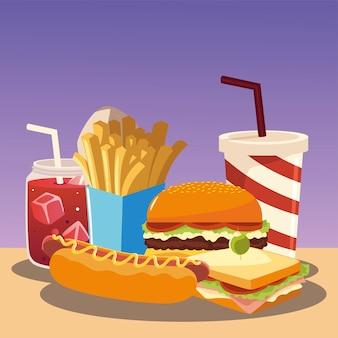Hamburguesa de comida rápida, sándwich de perrito caliente, papas fritas y soda ilustración vectorial