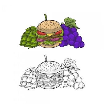 Hamburguesa, esperanza y uva dibujo a mano