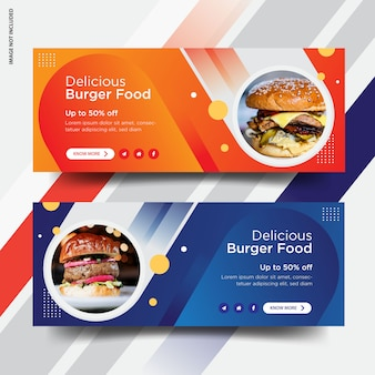 Hamburguesa facebook portada diseño de banner de publicación de redes sociales