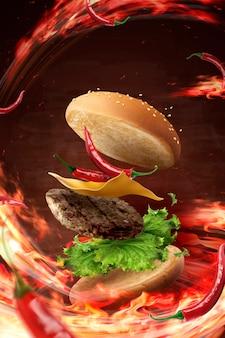 Hamburguesa fría caliente volando en el aire con fuego ardiente en la ilustración 3d