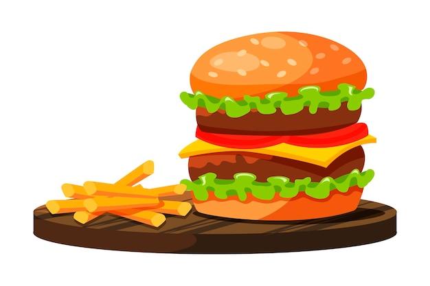 Hamburguesa grande con doble carne, queso, tomate, hojas de ensalada verde y papas fritas preparadas rápidamente y servidas en un plato de madera aislado sobre fondo blanco.