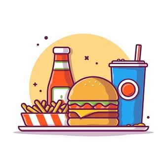 Hamburguesa con papas a la francesa y la ilustración de icono de soda. concepto de icono de comida rápida aislado. estilo plano de dibujos animados