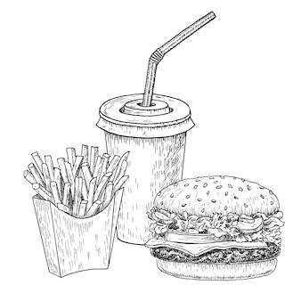 Hamburguesa, papas fritas y cola dibujada a mano grabada.