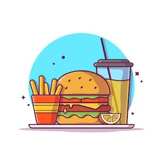 Hamburguesa con papas fritas y la ilustración de icono de naranja. concepto de icono de comida rápida aislado. estilo plano de dibujos animados
