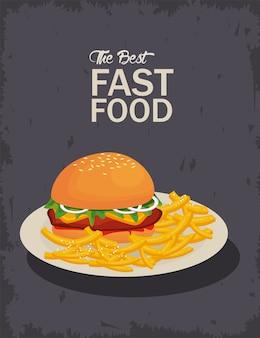 Hamburguesa y papas fritas en un plato delicioso icono de comida rápida ilustración