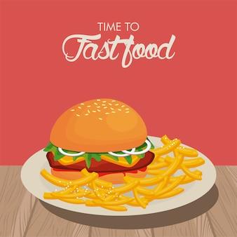 Hamburguesa y papas fritas en un plato delicioso ilustración de comida rápida