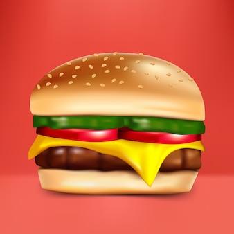 Hamburguesa con queso sobre fondo rojo.