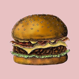 Hamburguesa con queso sobre un fondo rosa
