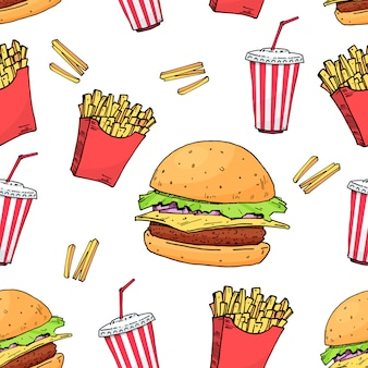 Hamburguesa. reajuste salarial. libre de papa coloridos patrones sin fisuras de comida rápida