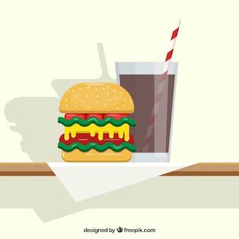 Hamburguesa y refresco de cola