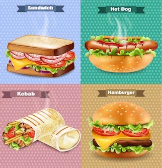Hamburguesa, sandwich, hot dog y envoltura