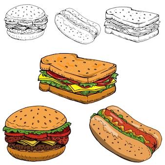 Hamburguesa, sandwich, hot dog ilustraciones dibujadas a mano sobre fondo blanco.