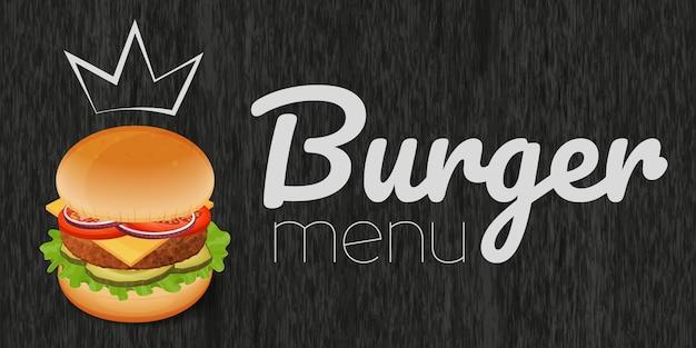 Hamburguesa sobre fondo negro de madera. menú de hamburguesas objeto para embalaje, publicidad, menú.