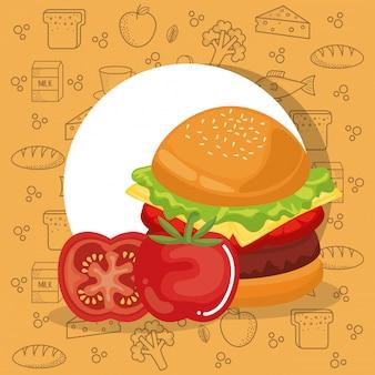 Hamburguesa y tomate comida rápida