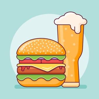Hamburguesa y vaso de cerveza en estilo de línea plana. ilustración de comida rápida