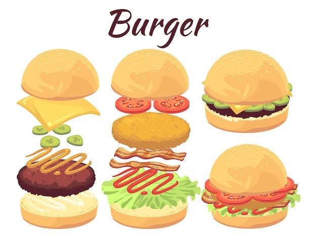 Hamburguesas aisladas en blanco. ilustración de comida rápida de dibujos animados