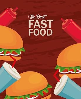 Hamburguesas y refrescos con salsa de tomate deliciosa comida rápida icono ilustración