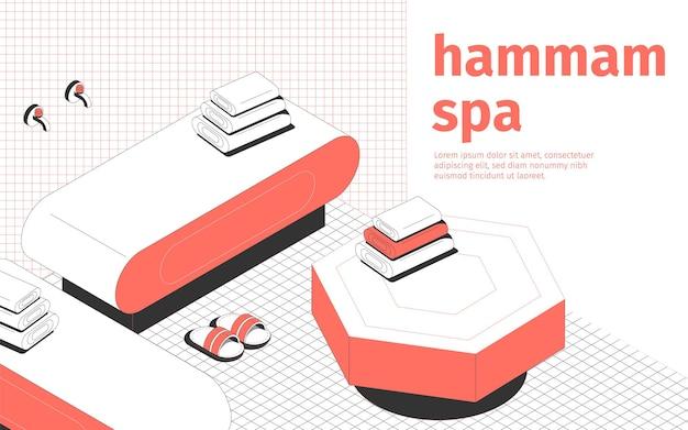 Hammam spa y sala de masajes zapatillas y toallas interiores composición isométrica 3d