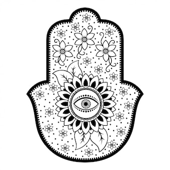 Hamsa símbolo dibujado a mano con flor.
