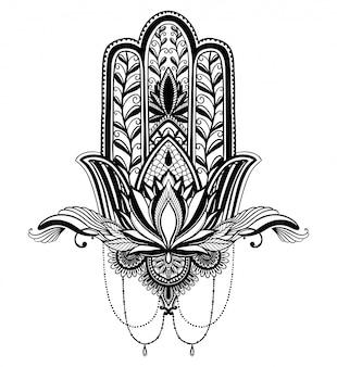 Hamsa talismán religión asiática y flor de loto.