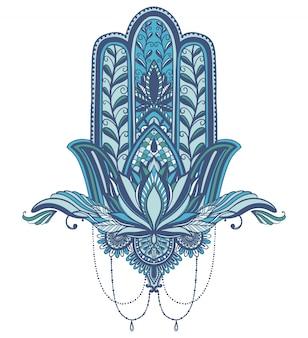 Hamsa talismán religión asiática. símbolo de protección y talismán contra el mal de ojo.