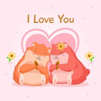 Hamsters pareja san valentín fondo