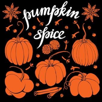 Hand lettering pumpkin spice coffee restaurante folleto vector cafetería diseño de menú