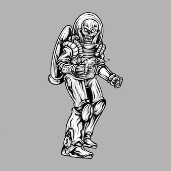 Handdrawing ilustración esqueleto alien astronauta espacial