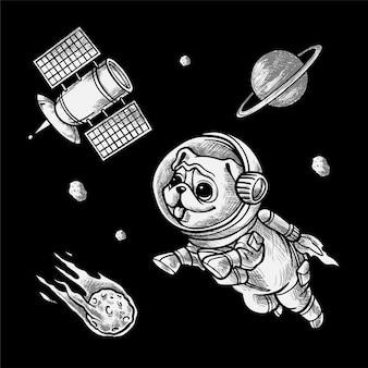 Handdrawing ilustración space pug