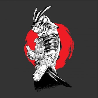 Handdrawing ilustración tigre samurai