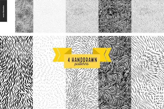 Handdrawn conjunto de patrones en blanco y negro. pelaje o hojas en blanco y negro sin costuras.