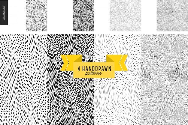 Handdrawn conjunto de patrones en blanco y negro