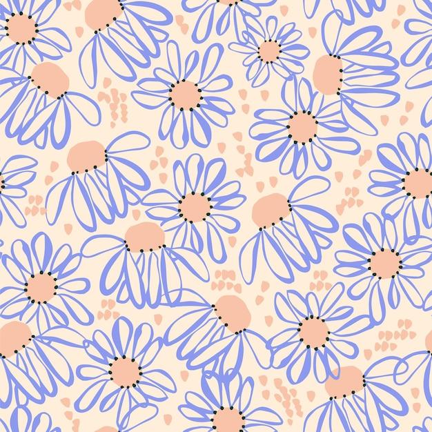 Handdrawn cosmos flor y trazo de pincel motivo de ilustración patrón de repetición perfecta obra de arte retro