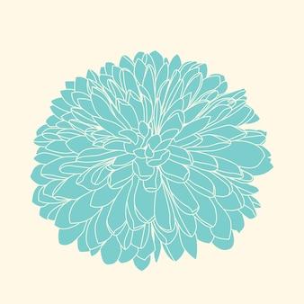 Handdrawn crisantemo azul oscuro.