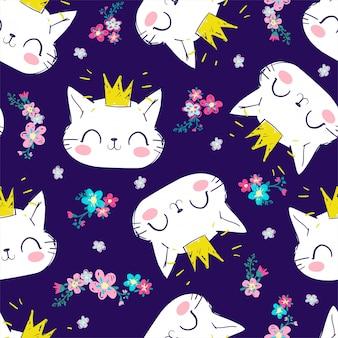 Handdrawn lindo gato de patrones sin fisuras