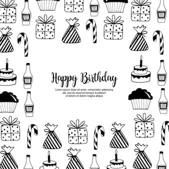 Handdrawn marco de cumpleaños