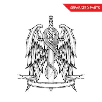 Handdrawn serpiente espada y alas
