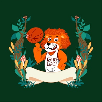 Handdrawn vector cute cartoon lion vistiendo cesta uniforme con marco floral