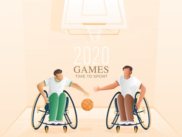 Handicap deportistas jugando baloncesto y aro sobre fondo pastel melocotón para juegos time to sport.