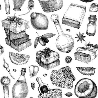 Handketched jabón de patrones sin fisuras ingredientes naturales y telón de fondo de materiales aromáticos