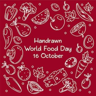 Handrawn día mundial de la alimentación