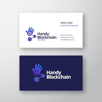 Handy blockchain technology abstract vector logo y plantilla de tarjeta de visita