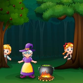 Hansel y gretel en el bosque con brujas