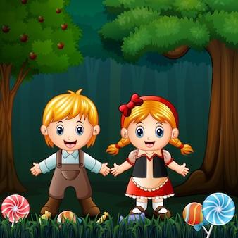 Hansel y gretel en el bosque