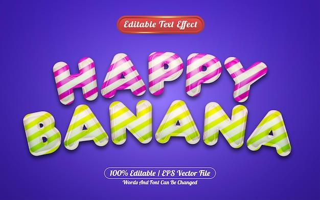 Happy banana 3d estilo de efecto de texto editable líquido