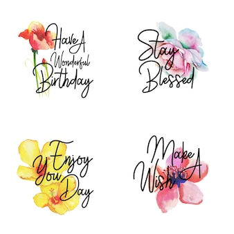 Happy birthday logo collection con acuarela floral